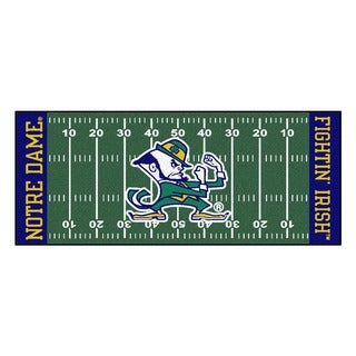 Fanmats Machine-made Notre Dame Green Nylon Football Field Runner (2'5 x 6')