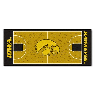 Fanmats Machine-made University of Iowa Gold Nylon Basketball Court Runner (2'5 x 6')