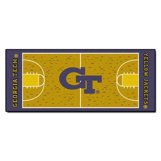 Fanmats Machine-made Georgia Tech Gold Nylon Basketball Court Runner (2'5 x 6')