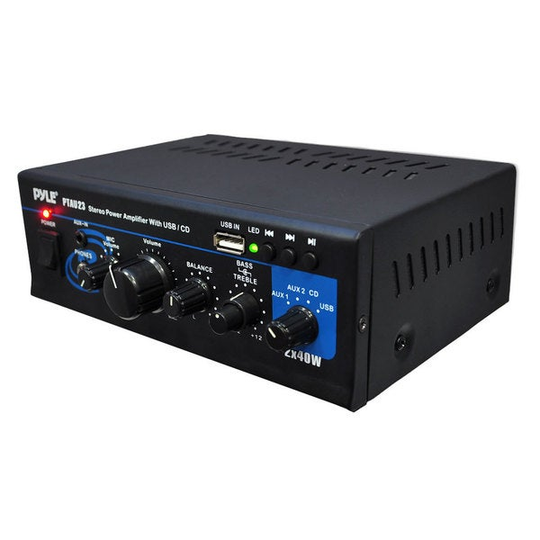 Pyle PTAU23 80W Mini Stereo Amplifier with USB/ AUX Inputs (Refurbished)