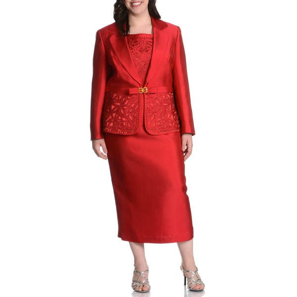 Giovanna Collection Women's Plus Size Rhinestone & Floral Applique Embellished 3-piece Skirt Suit