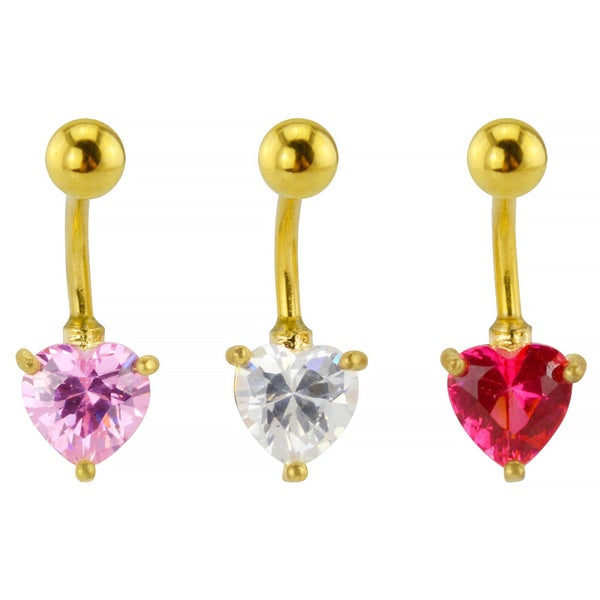 Supreme Jewelry Heart-shaped Stone 3-pack Belly Rings