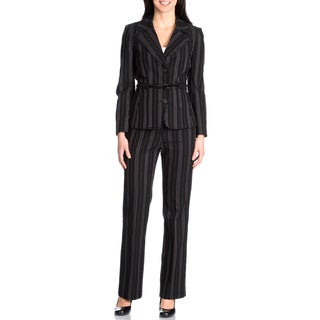 Nicci Women's 2-piece Black/Pink/White Belted Pant Suit