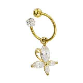 Supreme Jewelry Anodzied Goldtone Butterfly Tragus Hoop Earring