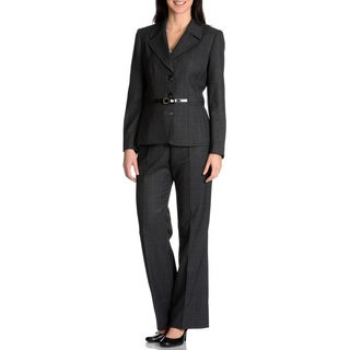 Nicci Women's 2-piece Grey/White Belted Pant Suit