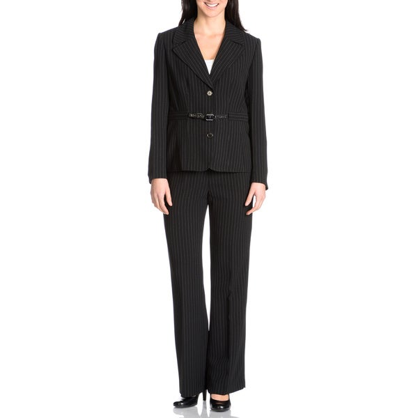 Nicci Women's 2-piece Black/White Belted Pant Suit
