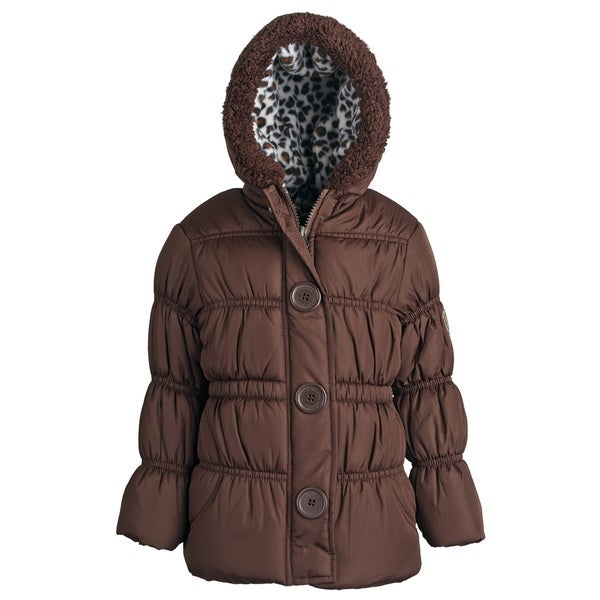 Pink Platinum Girls Hooded Fleece-lined Down Alternative Puffer Coat