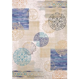 "Tranquility Coastal Blocks Area Rug (7'10"" x 10'6"")"