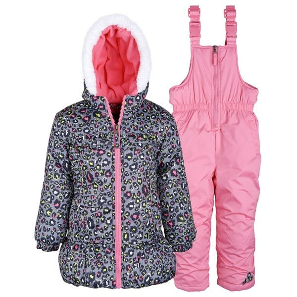 Pink Platinum Baby Girls Down Alternative Snowboard Puffer Coat and Snowpants