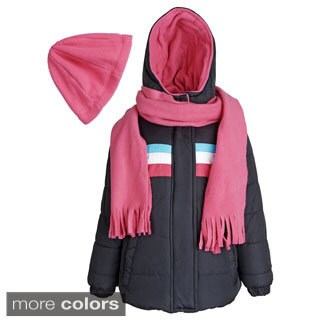 Pink Platinum Girl's Down Alternative Fleece-lined Puffer Coat