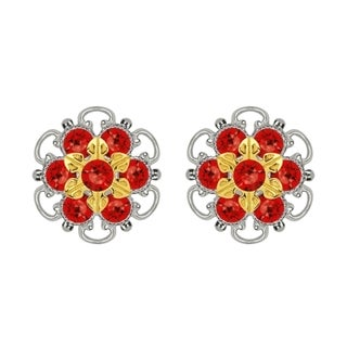 Lucia Costin Gold Over Sterling Silver Red Crystal Earrings