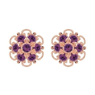 Lucia Costin Gold Over Silver Violet Crystal Earrings