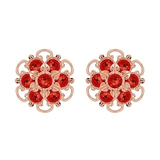Lucia Costin Gold Over Silver Red Crystal Earrings