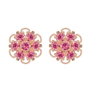 Lucia Costin Gold Over Silver Pink Crystal Earrings