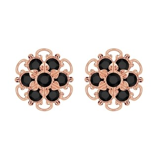 Lucia Costin Gold Over Silver Black Crystal Earrings