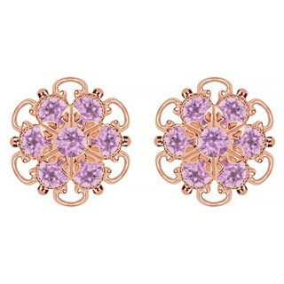 Lucia Costin Gold Over Silver Lilac Crystal Earrings