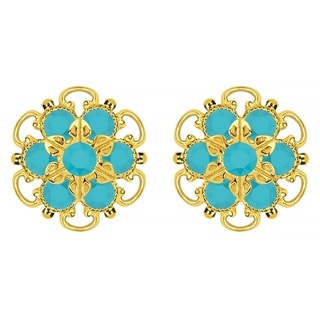 Lucia Costin Gold Over Silver Turquoise Crystal Earrings