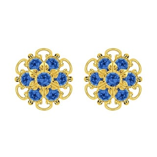 Lucia Costin Gold Over Silver Blue Crystal Stud Earrings
