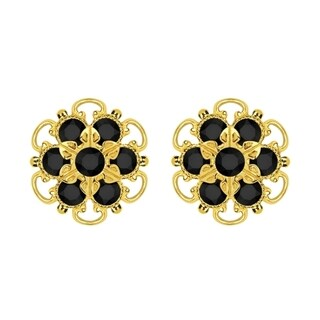 Lucia Costin Gold Over Silver Black Crystal Stud Earrings
