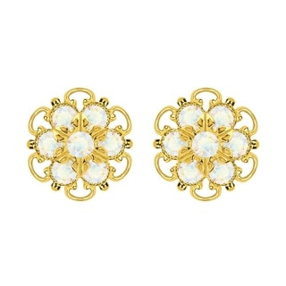 Lucia Costin Gold Over Silver White Crystal Stud Earrings