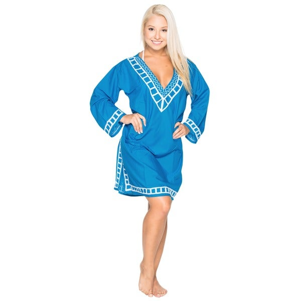 La Leela Women's Blue Viscose Embroidered Beach Swim Kaftan