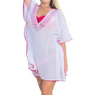 La Leela Women's Pink Sheer Chiffon Sequin Lace V-Neck Beach Swim Cover-up Kaftan