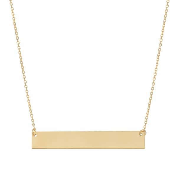 Fremada Yellow Gold High Polish Engraveable Bar Necklace