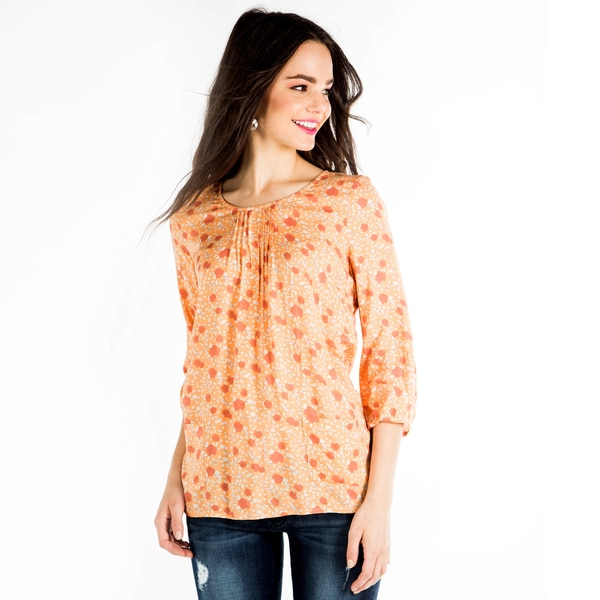 DownEast Basics Women's Peach Floral Pocket Charm Blouse