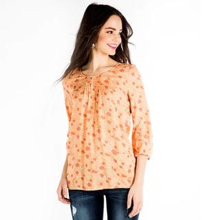 DownEast Basics Women's Peach Floral Pocket Charm Blouse