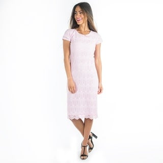 DownEast Basics Women's Lilac Lace Peaceful Dress