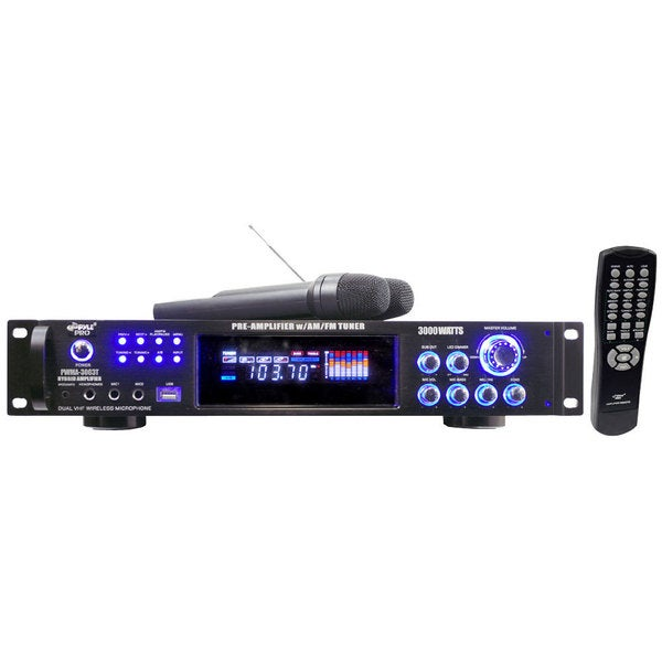 Pyle PWMA3003T 3000W Hybrid Pre-Amplifier with AM/FM Tuner/ USB/ Dual Wireless Microphones (Refurbished)