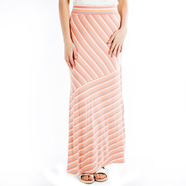 DownEast Basics Women's Peach Striped Diagonal Stripe Maxi Skirt