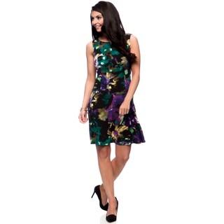 Connected Apparel Women's Floral Skater Dress
