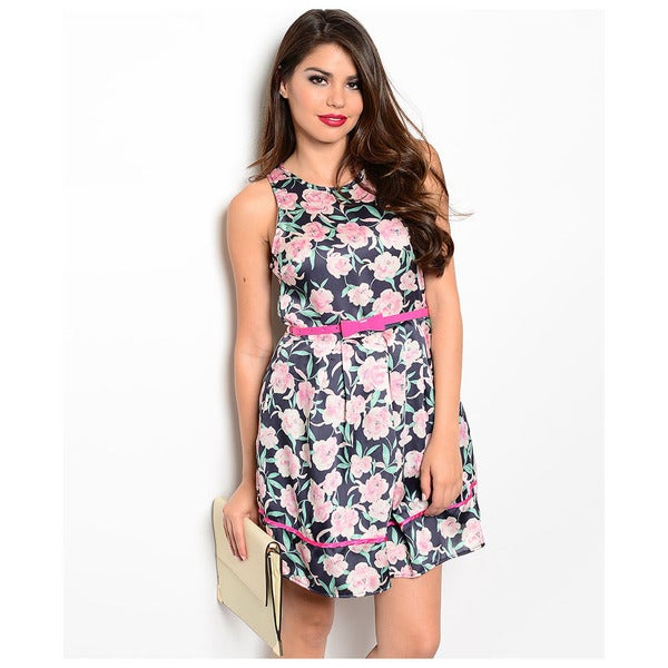 Shop The Trends Women's Sleeveless Floral Colored Skinny Belt Dress