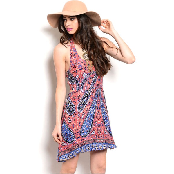 Shop The Trends Women's Sleeveless Paisley Curved Hem Smocked Back Halter Dress