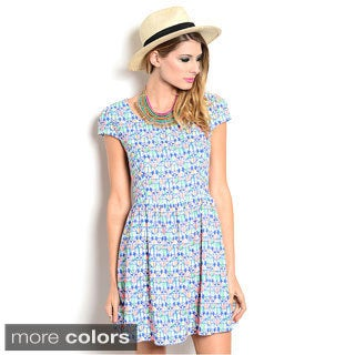 Shop The Trends Women's Cap Sleeve Dainty Geometric Print Babydoll Dress