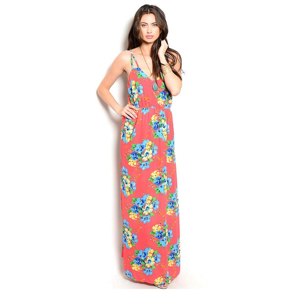 Shop The Trends Women's Spaghetti Strap Floral Print Woven Maxi Dress