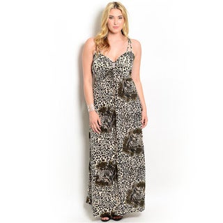 Shop the Trends Women's Plus Size Allover Leopard Print V-neck Maxi Dress