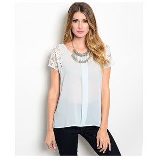 Shop The Trends Women's Lace Short Sleeve Woven Pintuck Front Blouse