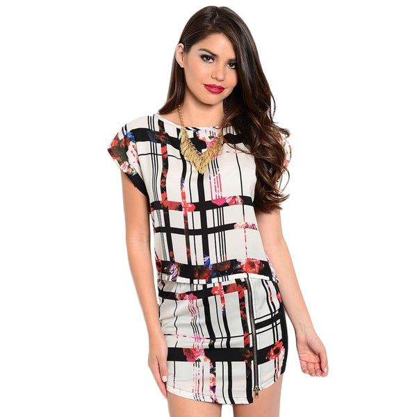 Shop The Trends Women's Allover Striped Floral Top And Skirt 2-piece Set