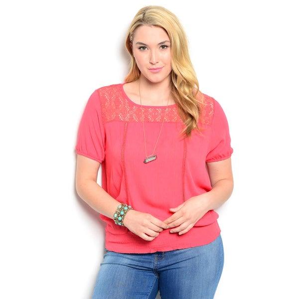 Shop The Trends Women's Plus Size Short Sleeve Lace Yoke Woven Top