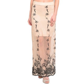 Shop the Trends Women's Sheer Contrasting Applique Maxi Skirt
