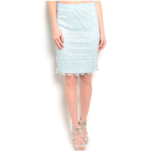 Shop The Trends Women's Fitted Allover Crochet Lace Overlay Midi Skirt