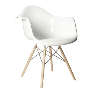 Retro Eames Style Molded Plastic Wood Eiffel Legs White Armchair (China)