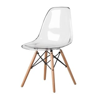 Eames Style Clear Plastic Side Chair with Wood Eiffel Legs (China)