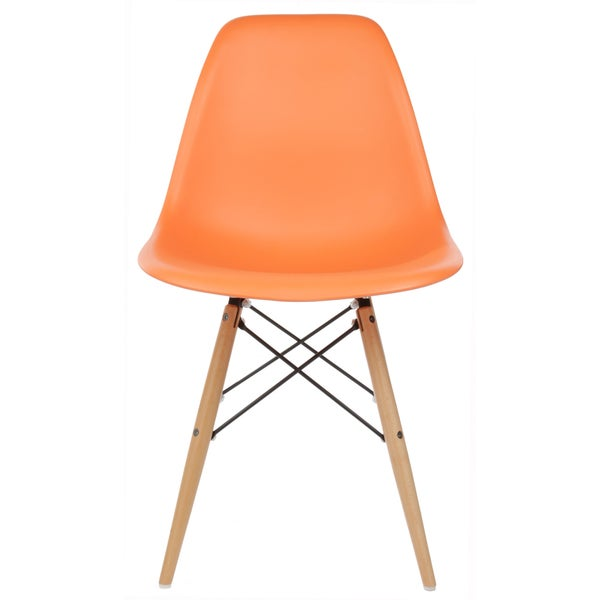 ... Eames Style Molded Plastic Wood Eiffel Legs Orange Side Chair (China