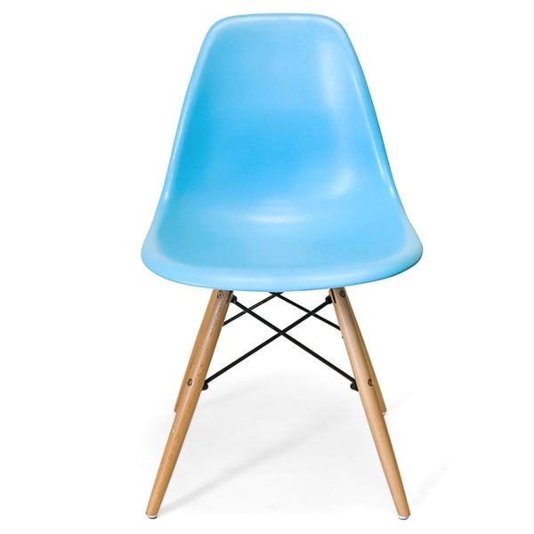 retro eames style molded plastic wood eiffel legs blue side chair