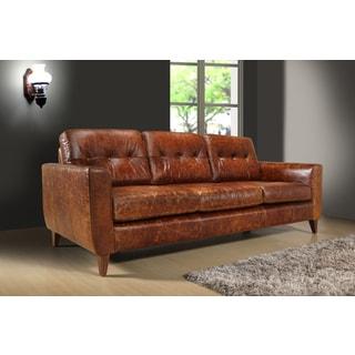 Austin Vintage Brown Leather 3-seat Sofa