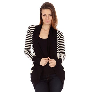 Dinamit Celsius Juniors Black and White Striped Open-front Knit Cardigan