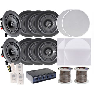 Pyle KTHSP380 4-room In-wall/ Ceiling 6.5-inch Speaker System with 4 Volume Controls/ Speaker Selector/ 200-foot Wire